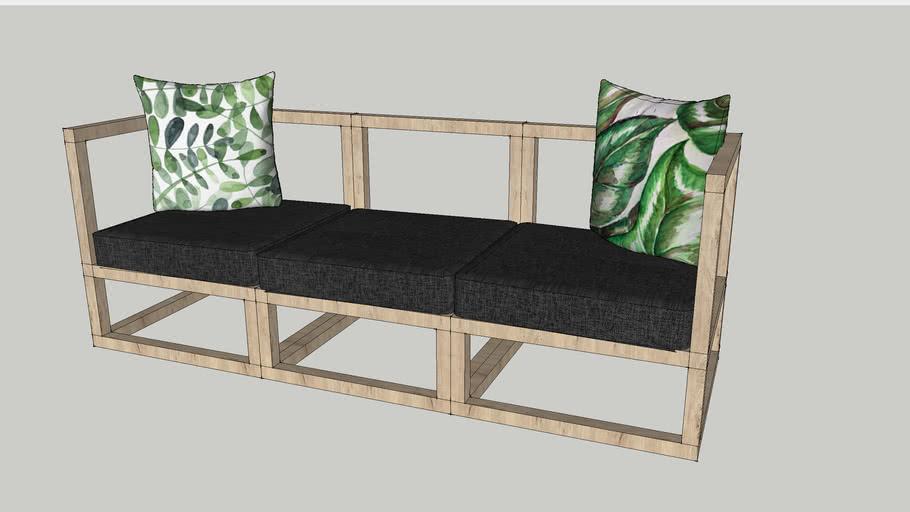 Sofa 3 Seater Cube