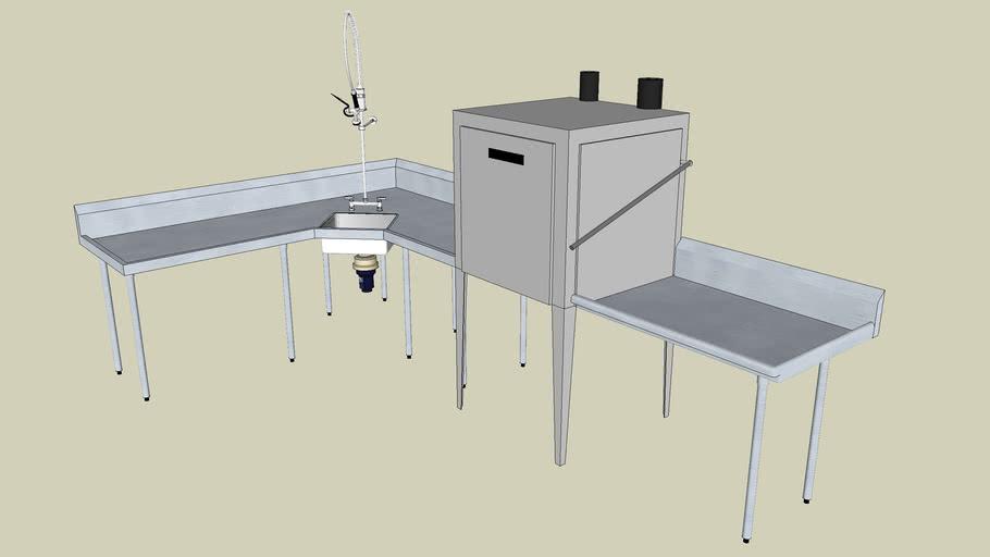 Commercial Dishwasher-Sink