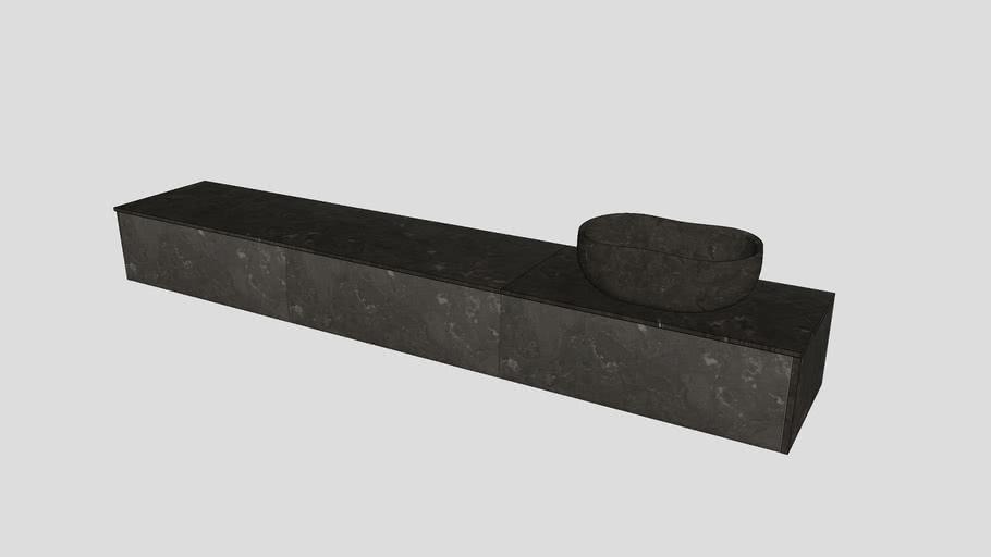 Anima | Wall-mounted modular system in Pietra d'Avola limestone | L90cm modules | Salvatori