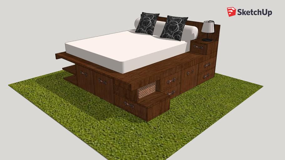 Corner Bed Platform With Storage Lit Plateforme Avec Rangement 3d Warehouse