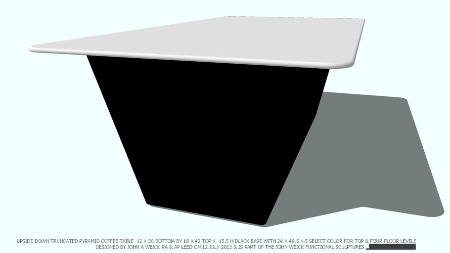 COFFEE TABLE BLACK TRUNCATED NO COLOR 2X4 TOP BY JOHN A WEICK RA
