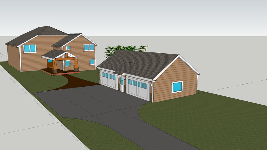 House sketch up with planned new garage and entrance