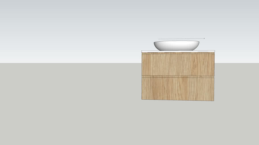 900 Wall Hung Vanity with above counter basin [No Code]