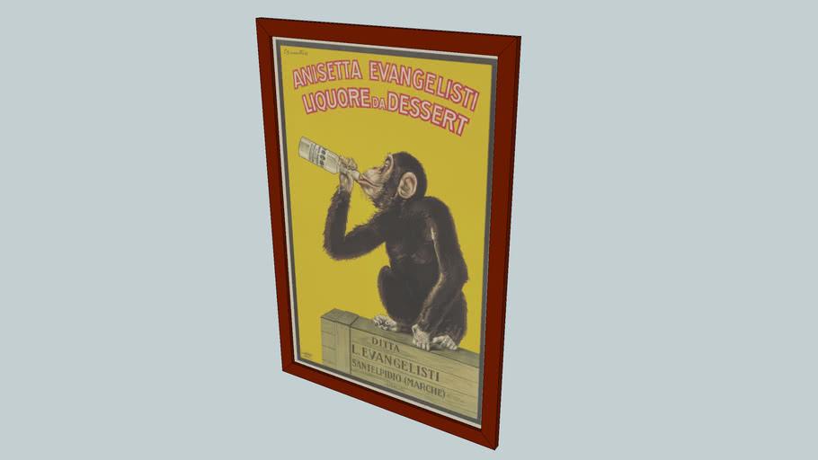 Anisetta Evangelisti Monkey Poster Framed