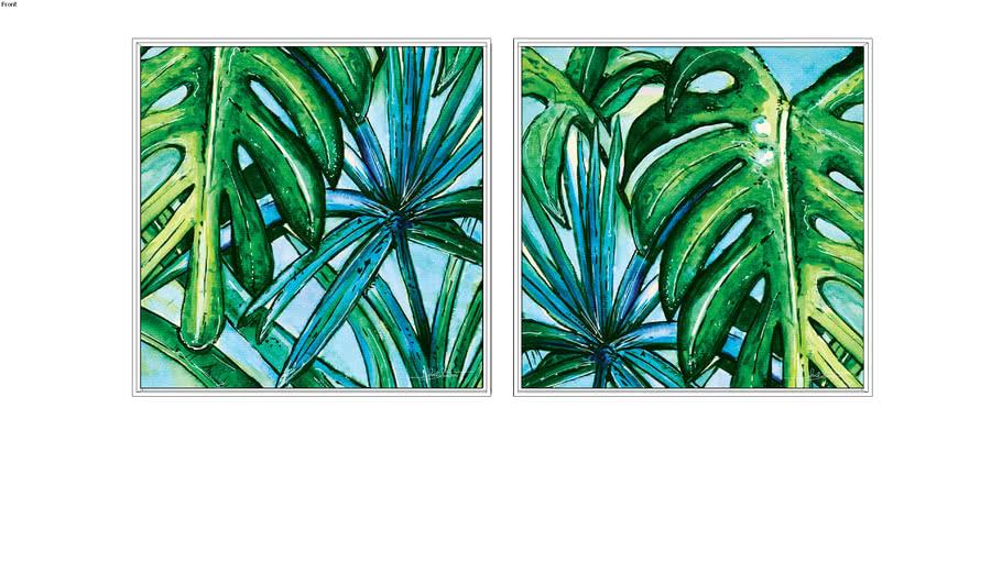 Composição de 2 Quadros Botanical Aqua 1 Q e 2 Q