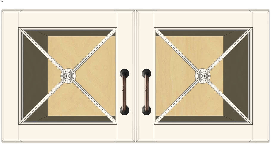 Wall Double Door 15Hx15D with Classic Mullion Antiquity Glass Insert