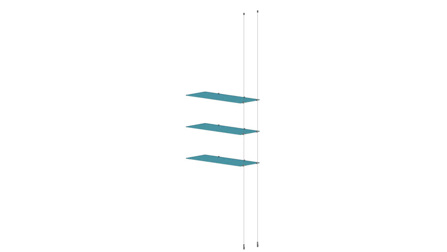 Cable Ceiling to Floor 3 Glass Shelves - Add-on Unit