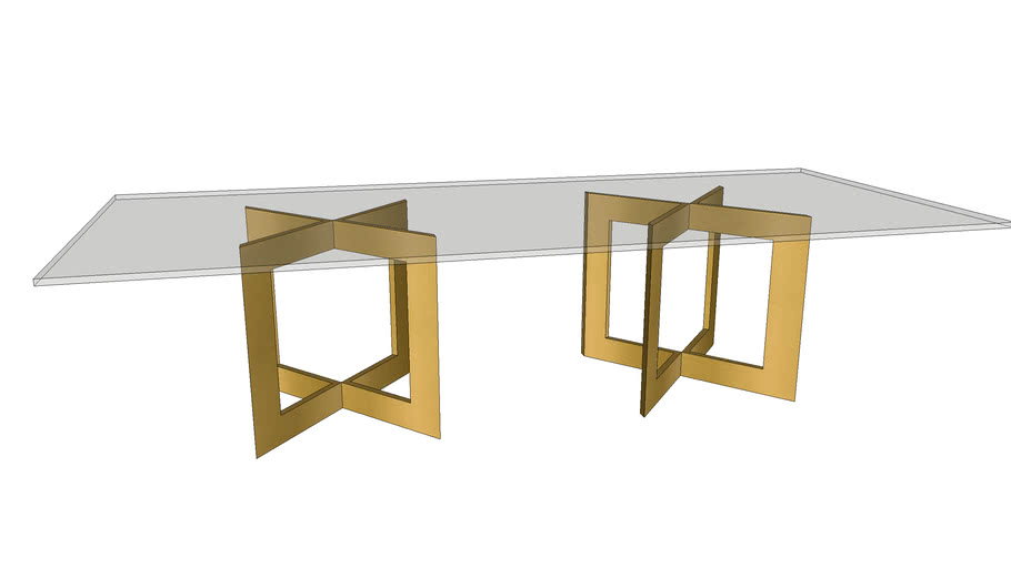 10' Double Brass Pedestal Dining Table