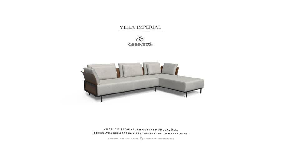 Sofá Benhê - 2 Assentos mais Chaise | Villa Imperial - Casa Vetti