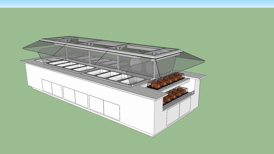 SBI-15R-H Hot/Cold bar w/ Rotisserie chicken warmer