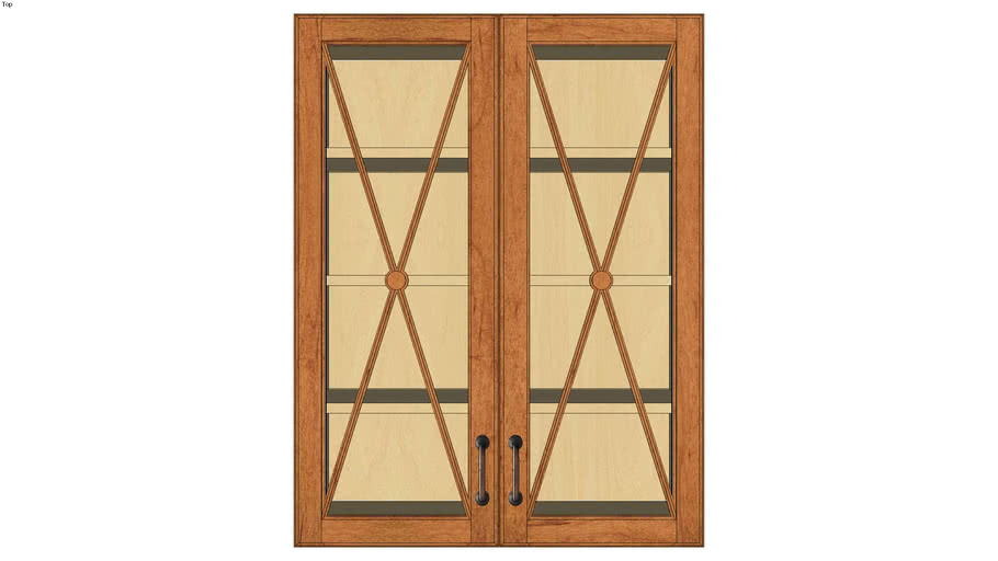 Wall Double Door 39H with Classic Mullion Antiquity Glass Insert