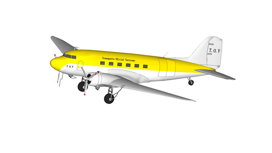 "avion douglas DC-3 del ""Transporte Oficial Vaticano"""
