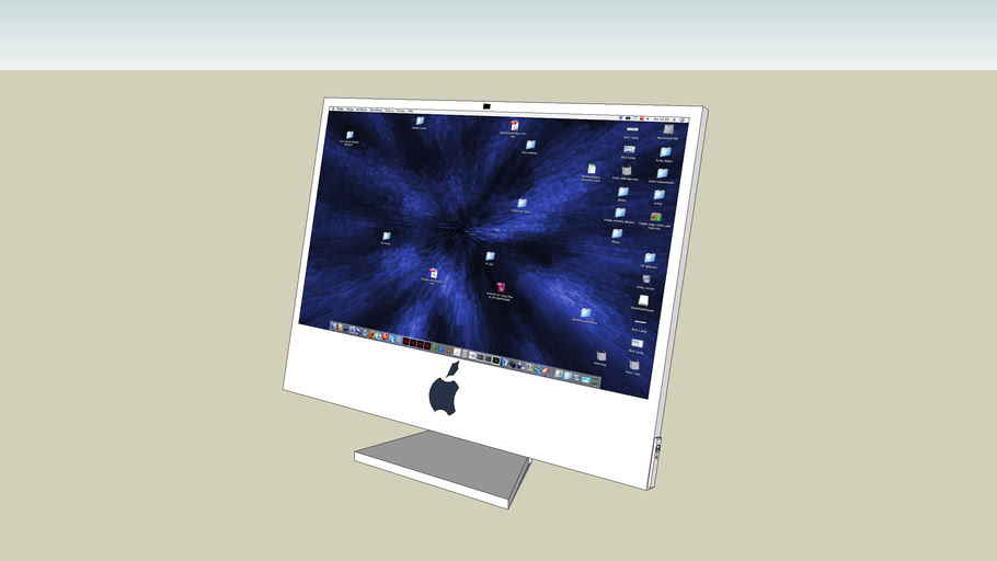 imac with desktop pic and remote