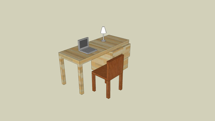 Desk With Chair, Laptop, and Lamp