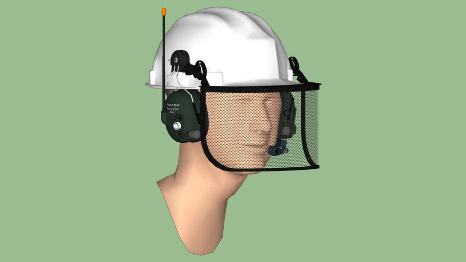 Safety First Series - Hearing Protection - Communications Headset 02 – Helmet Style + Shield