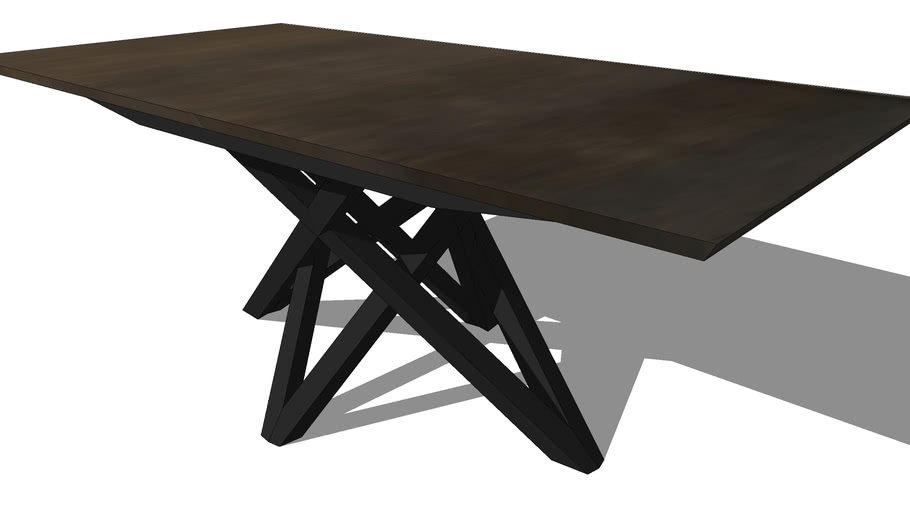 CARBONE EXTENDABLE DINING TABLE W/ WOODEN TOP, REF 2444, Michel FERRAND