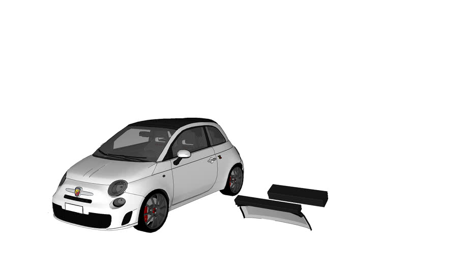 Fiat 500c ABARTH White detailed (roof close)