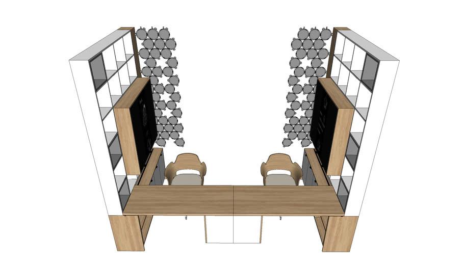 Desk. Rack. Workplace. Furniture. Письменный стол. Стеллаж. Рабочее место. Мебель.