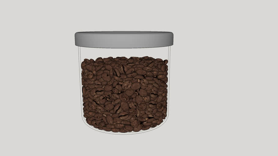 Glass pot with coffee beans