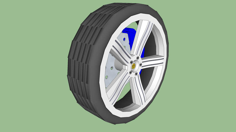 audi wheel 5 spokes with disc brakes and grooves