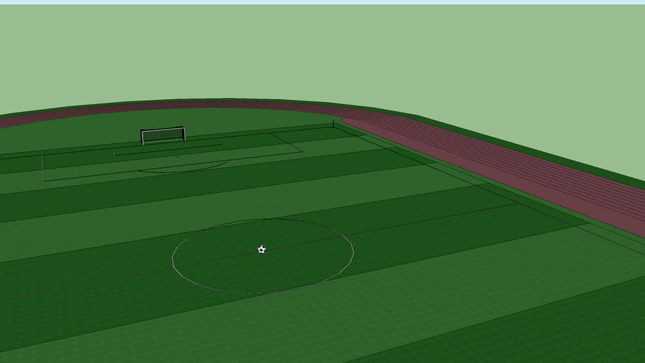 football pitch with ball and track