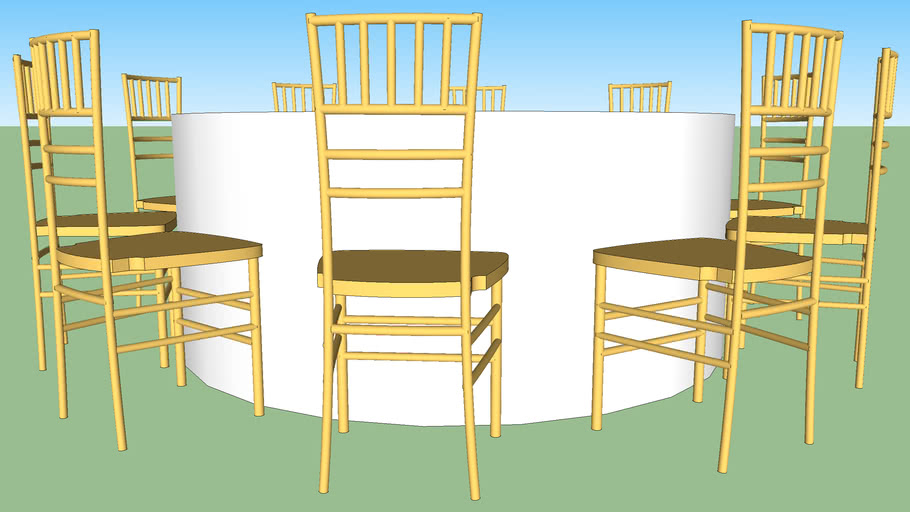 60 Round Table Linen And 10 Gold Chairs 3d Warehouse