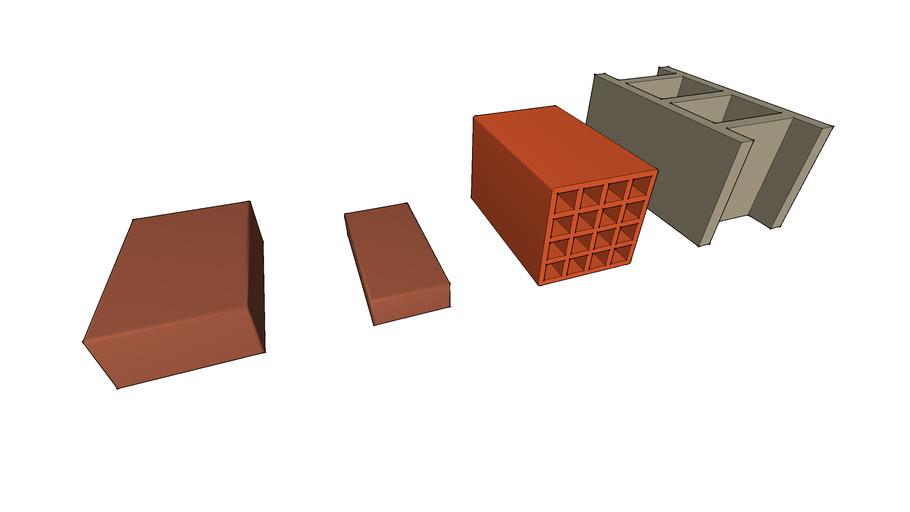 Different sized standard bricks