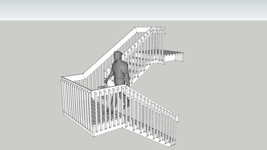3d man walking on porch or inside stairs