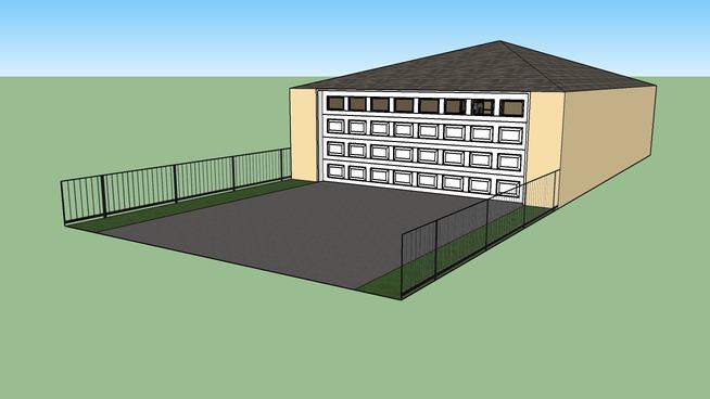garage with door and window
