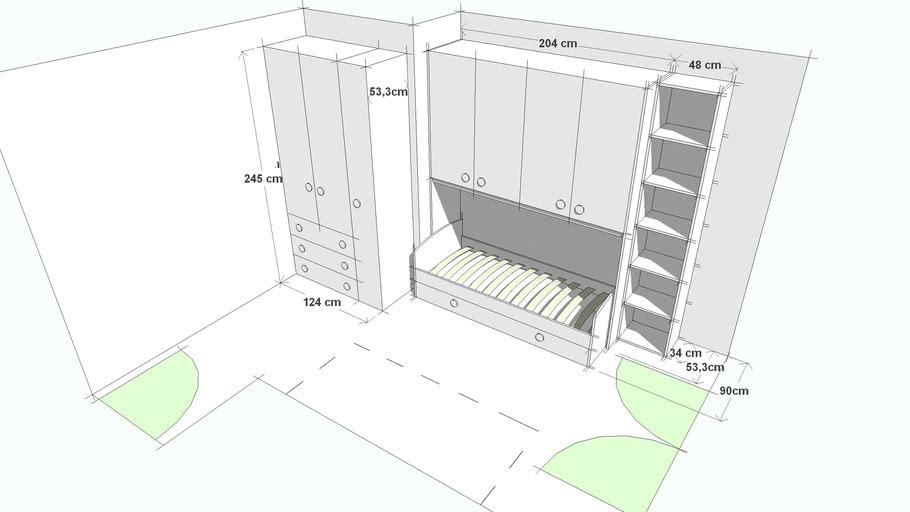 Armadio Ponte Con Divano Letto.Cameretta A Ponte Con Divano Letto E Armadio 3d Warehouse