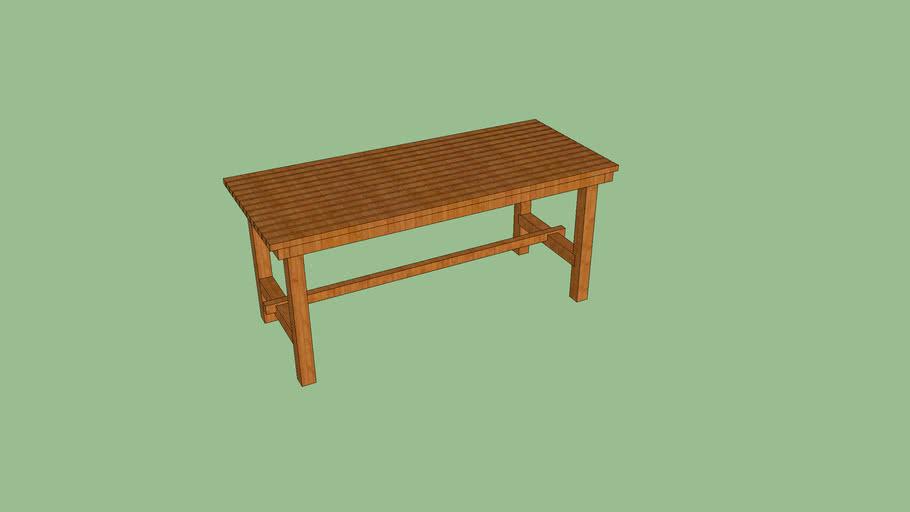 Mesa de madera en tablas
