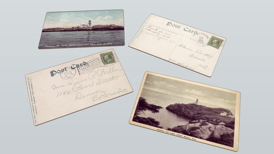 Antique Postcards - Downeast Lighthouses w Postmark & Stamps c1910