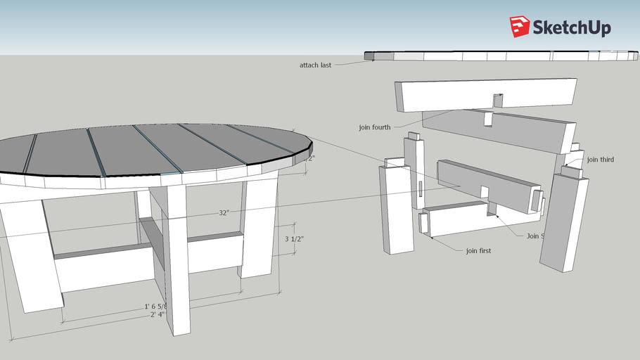 32x16 round coffee table Mark Perrah