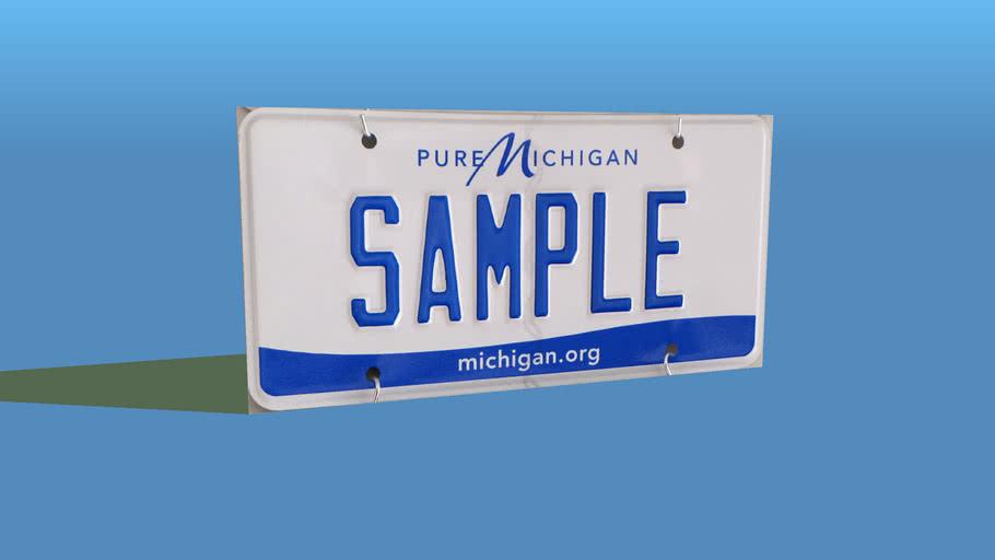 2013 Michigan Licence Plate