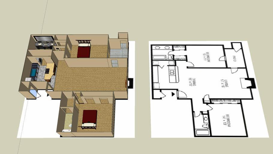Apartment FloorPlan  Nice 2 bedroom Apt,