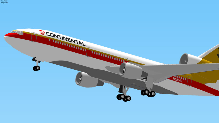 Continental Airlines DC-10 Takeoff from Houston, Texas, USA.