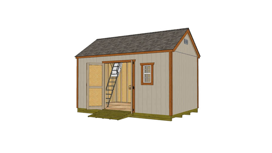 10x16 Gable Shed with Door on Long Wall