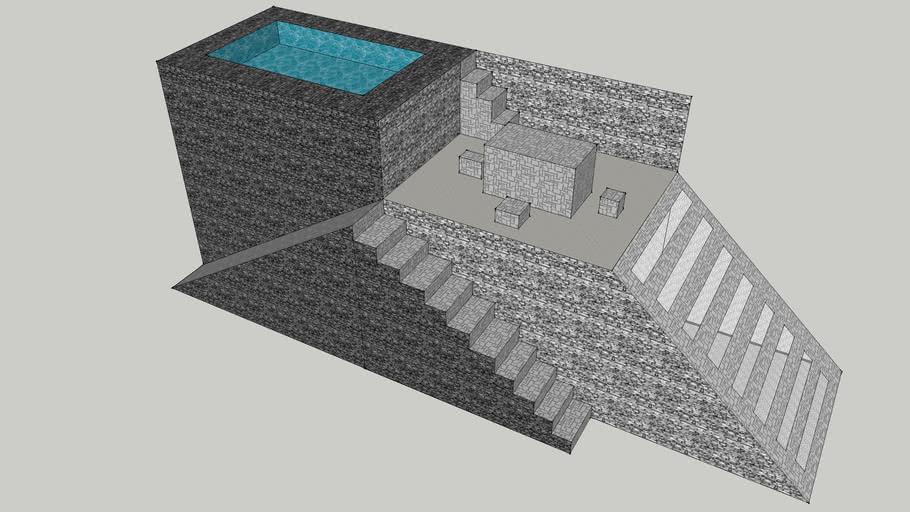 Une Terrasse Avec Piscine Intégrée Et Toboggan 3d Warehouse