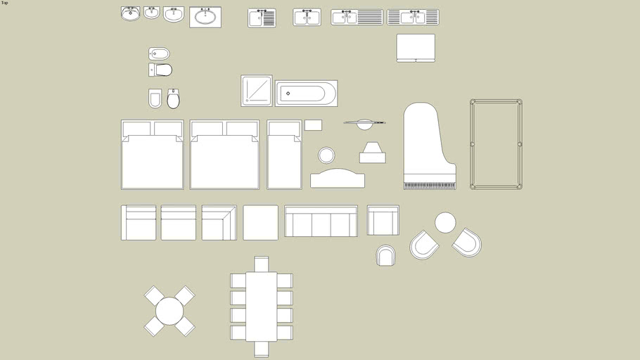 2D plan furniture