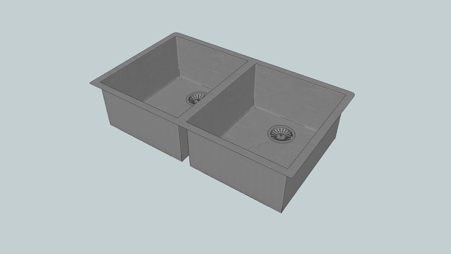 CR340D - Quadrato - Fabricated Double Square Bowl - Kitchen Sink - Abey