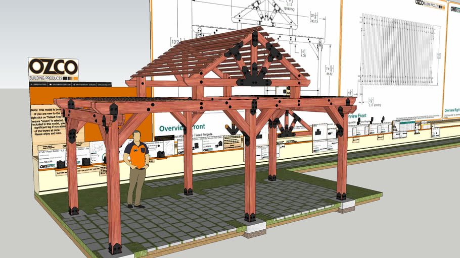 Two Tiered Cedar Pergola Pavilion with Plans