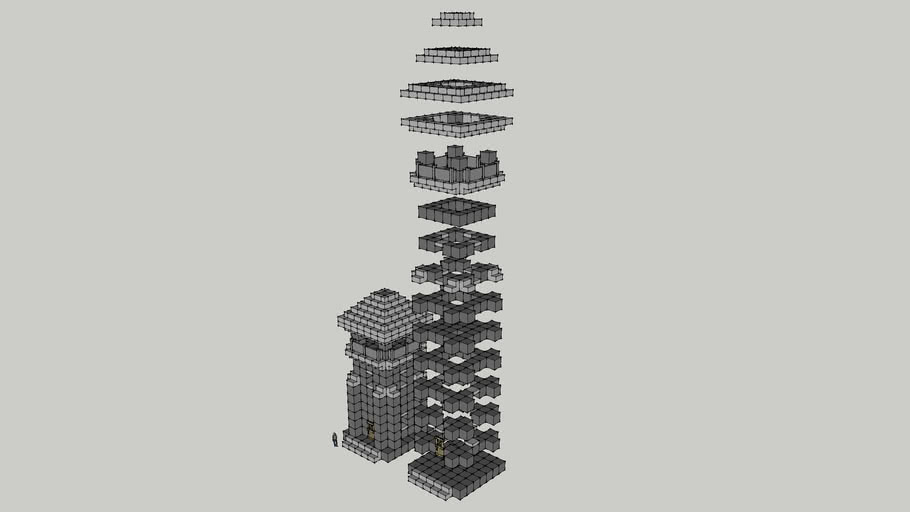 A Minecraft Basic Tower exploded view for general use