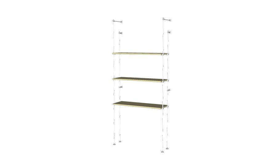 Tube Outrigger -3 Wood Shelves -  Base Unit