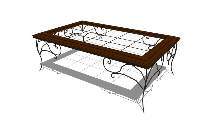 Wrought Metal, Wood, and Glass Coffee Table
