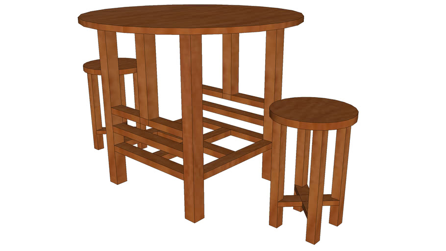 round table - wood - two benches