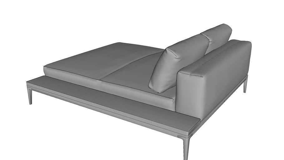 Grid Left Chill Chaise Unit Ceramic