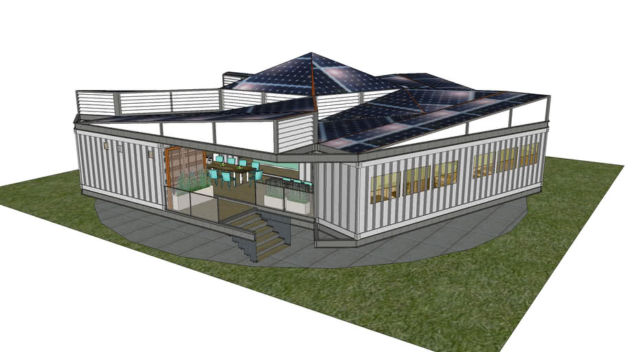 sustainable self spinning cargo container house
