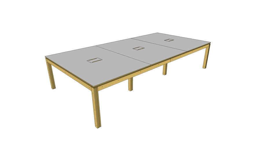 Grande table de réunion - 360x180cm - 10/12 personnes - trappes amovibles