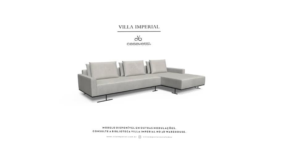 Sofá Gante - 2 Assentos mais Chaise   Villa Imperial - Casa Vetti