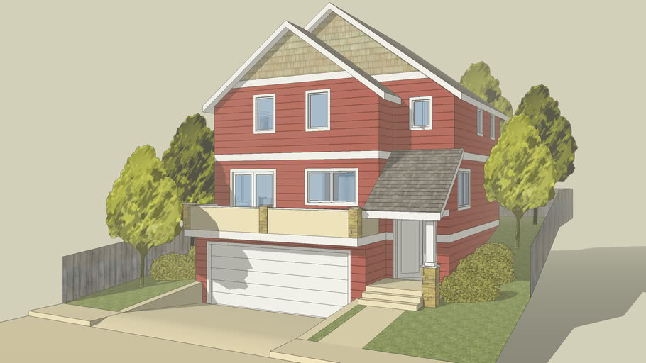 Craftsman House on Narrow Lot